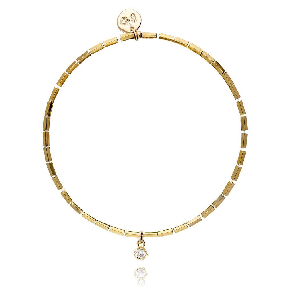 Bransoletka złota z hematytem - cyrkonia BTW0125