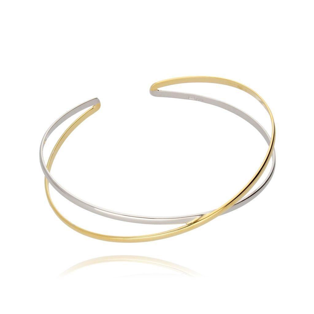 Bransoletka obręcz srebrno-złota BSE0060