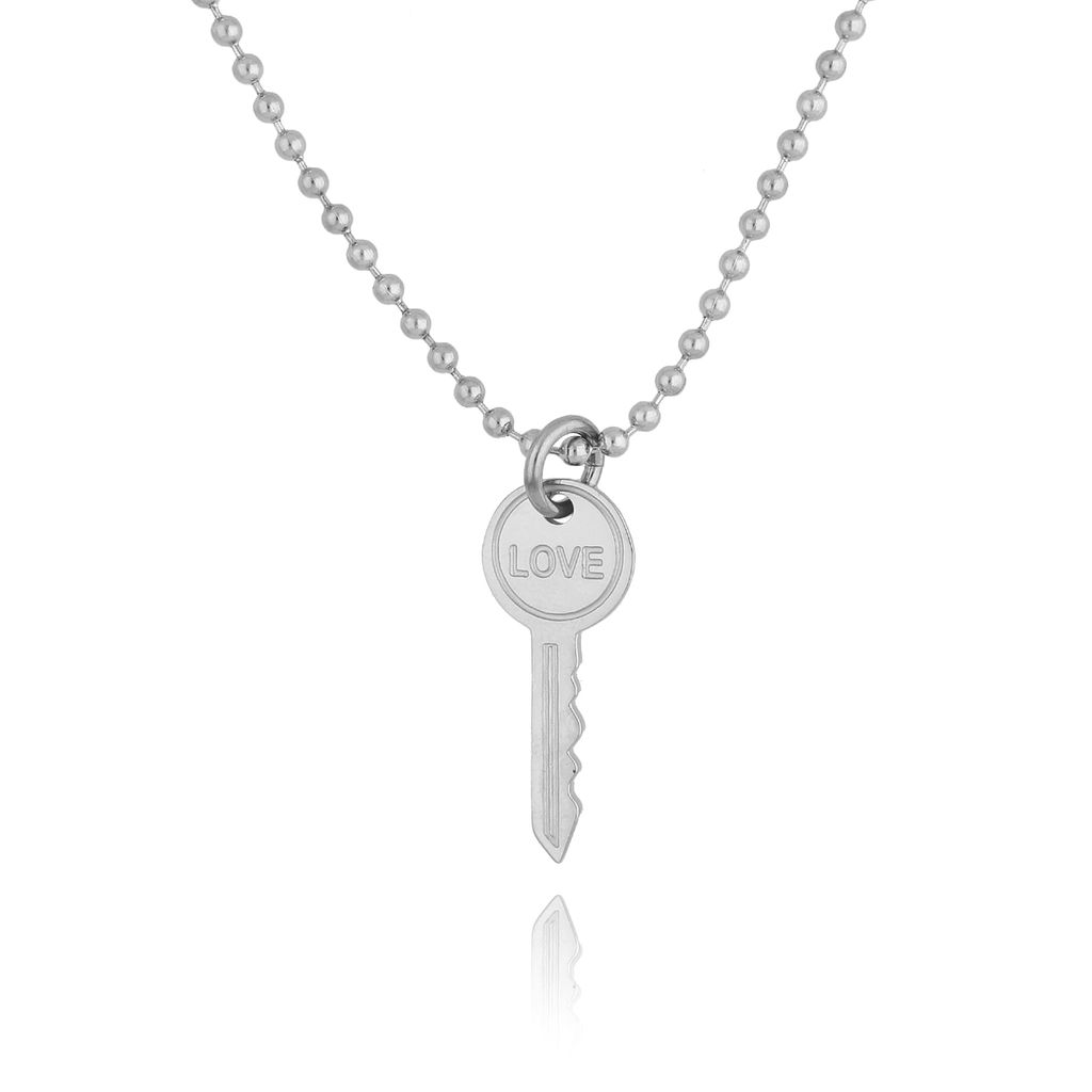 Naszyjnik srebrny kluczyk ze stali szlachetnej NSA0128