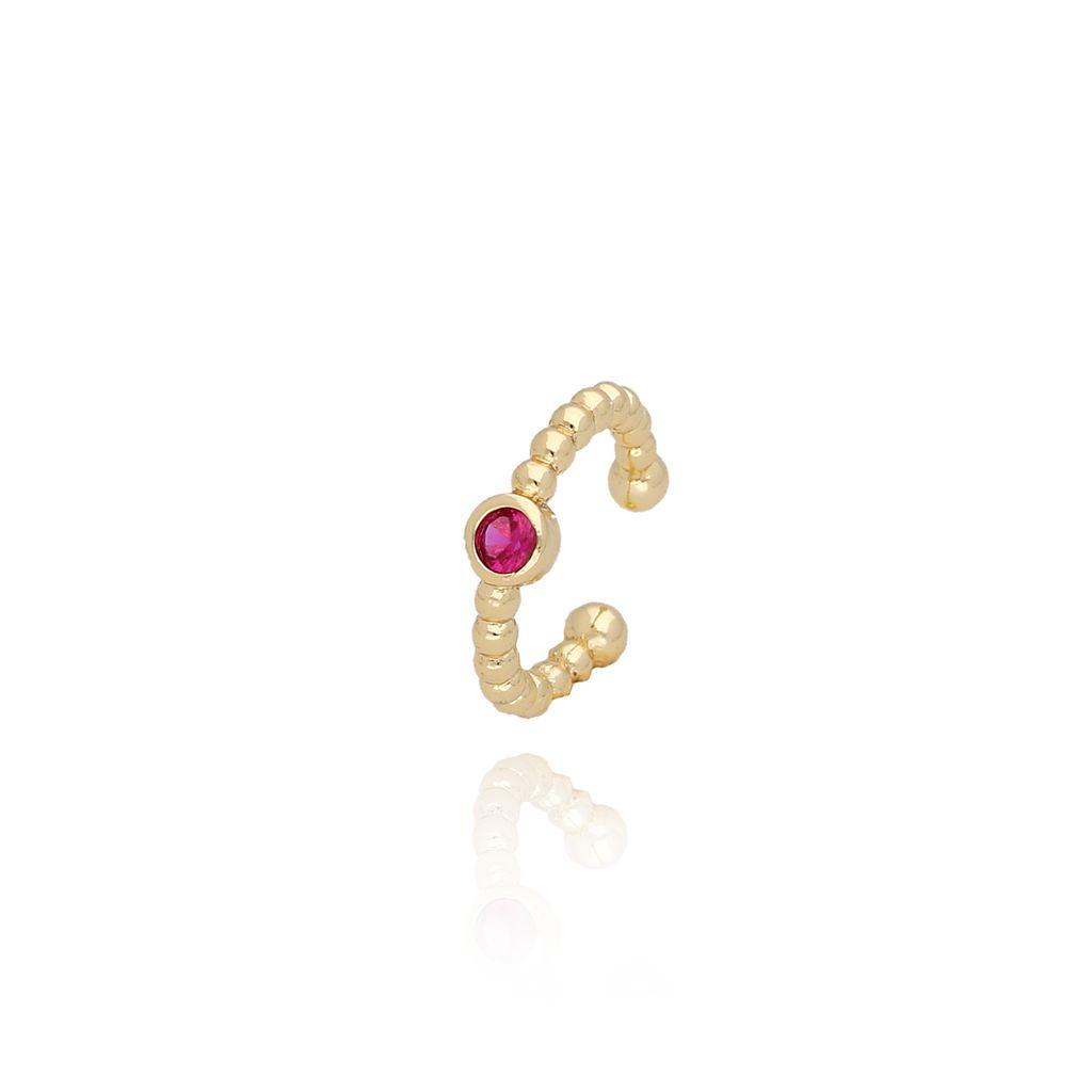 Nausznica złota z czerwonym kryształkiem KCO0025