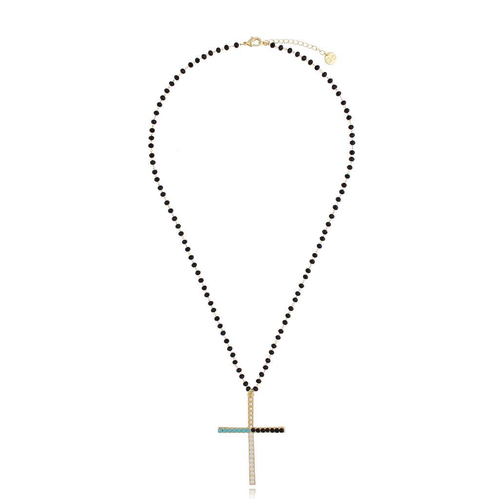 Naszyjnik złoty łańcuch z krzyżem NRG0296