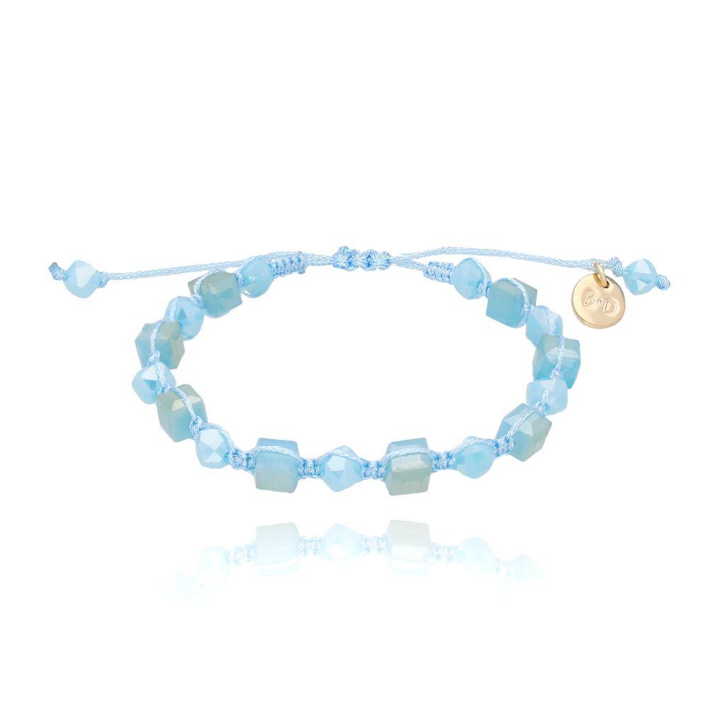 Bransoletka pleciona z niebieskimi kryształkami BBL0106