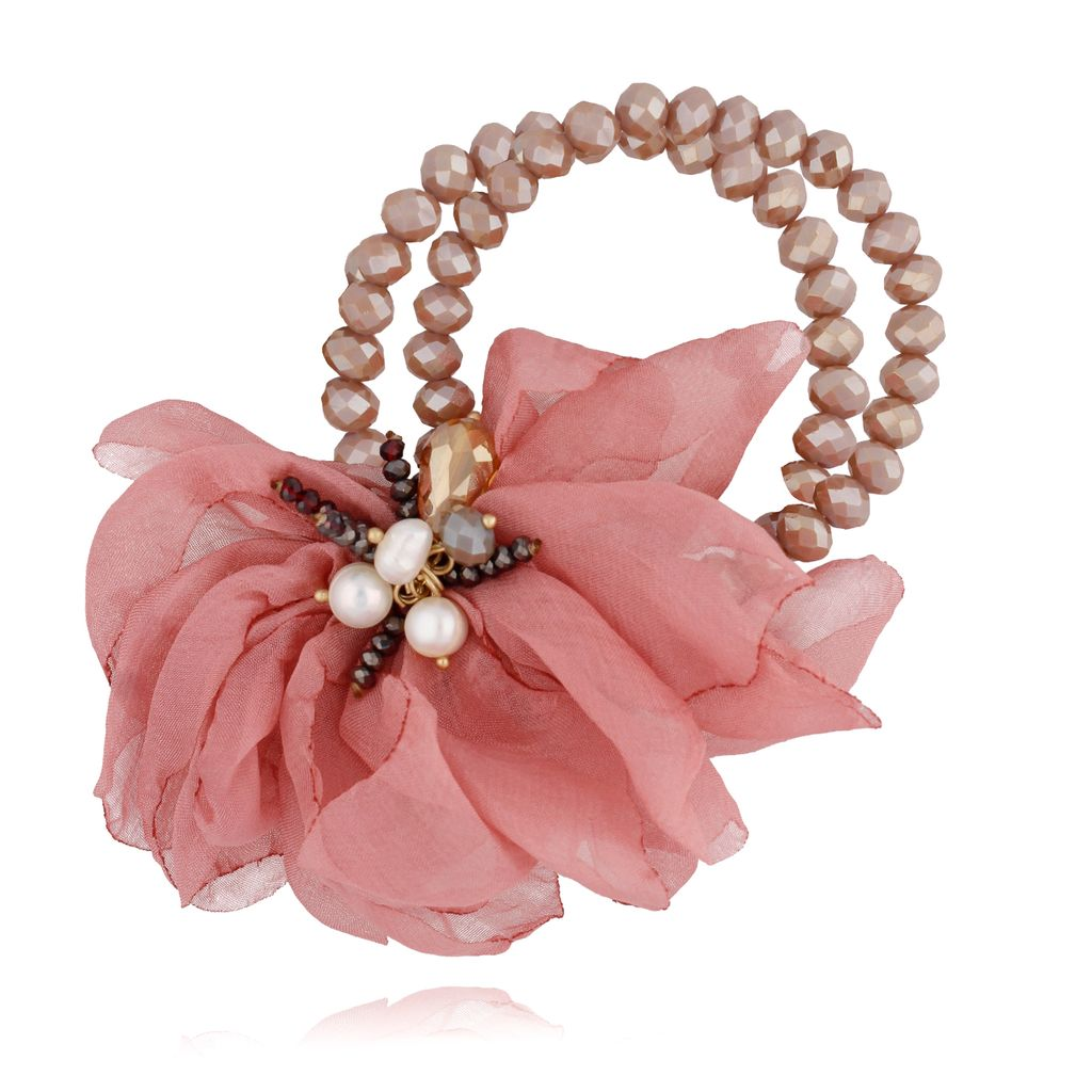 Bransoletka z kryształkami i  różowym kwiatem  BBL0130