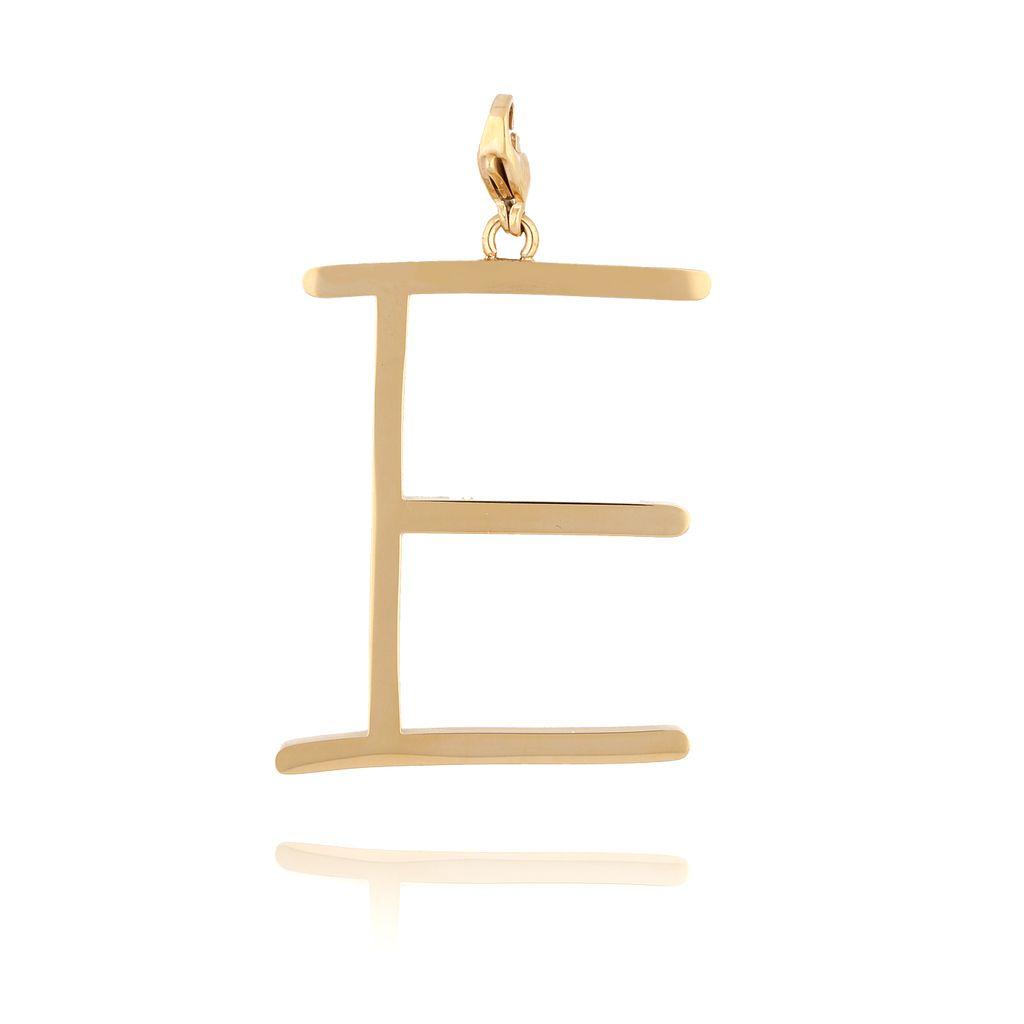 Zawieszka ze stali szlachetnej złota literka E Alphabet NAT0052