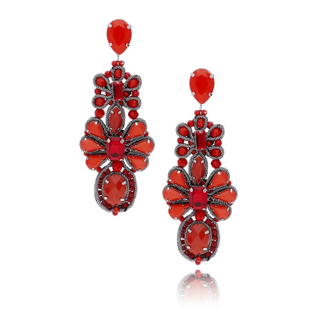Kolczyki kryształowe czerwone KMS0975