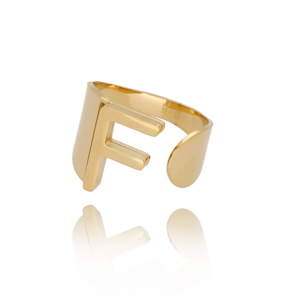 Pierścionek złoty ze stali szlachetnej z literką F PSA0087