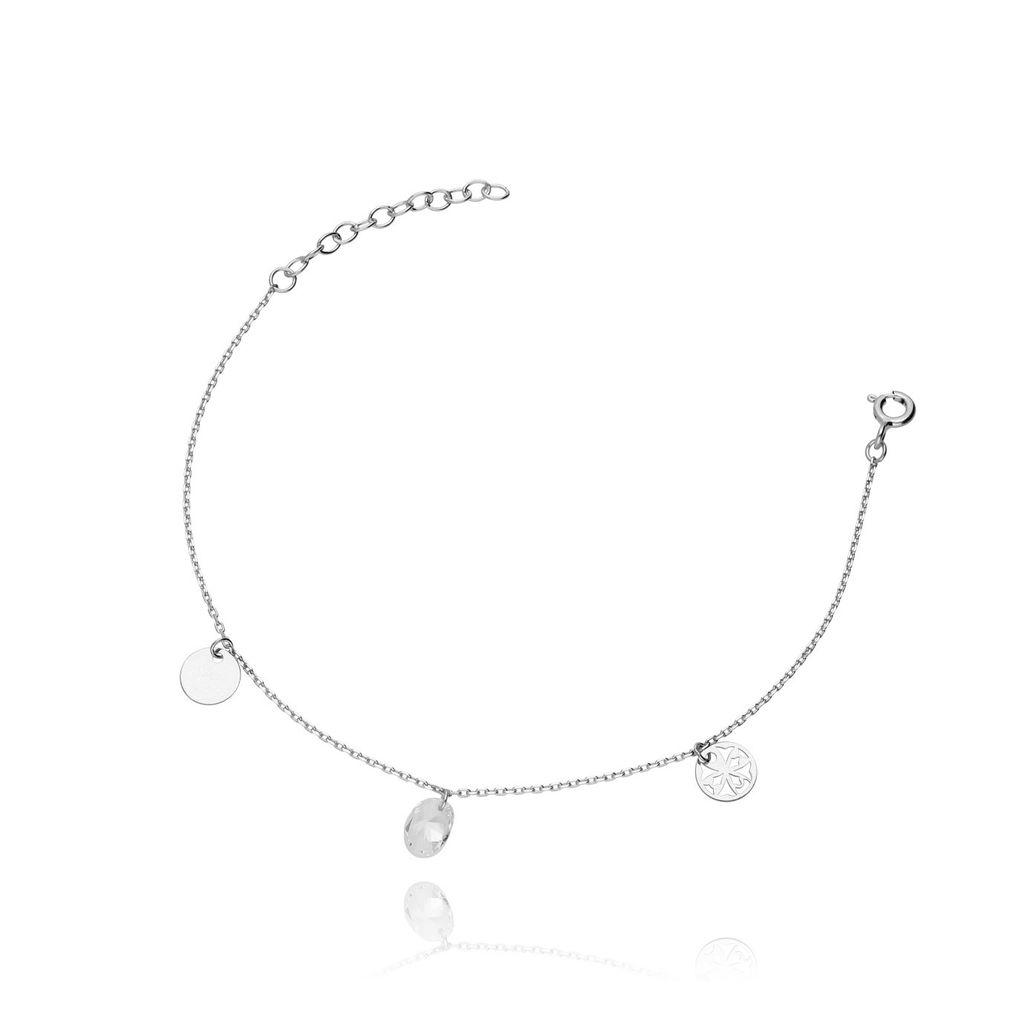 Bransoletka ze srebra z kryształkiem BSE0013