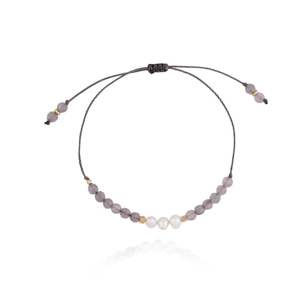 Bransoletka  szara z perłami i sznurkiem BTW0266