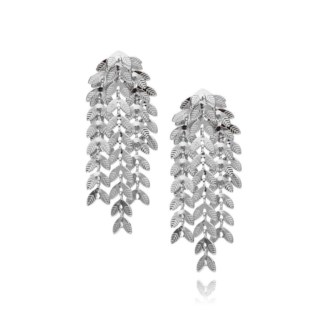 Kolczyki srebrne wiszące liście KRG0391
