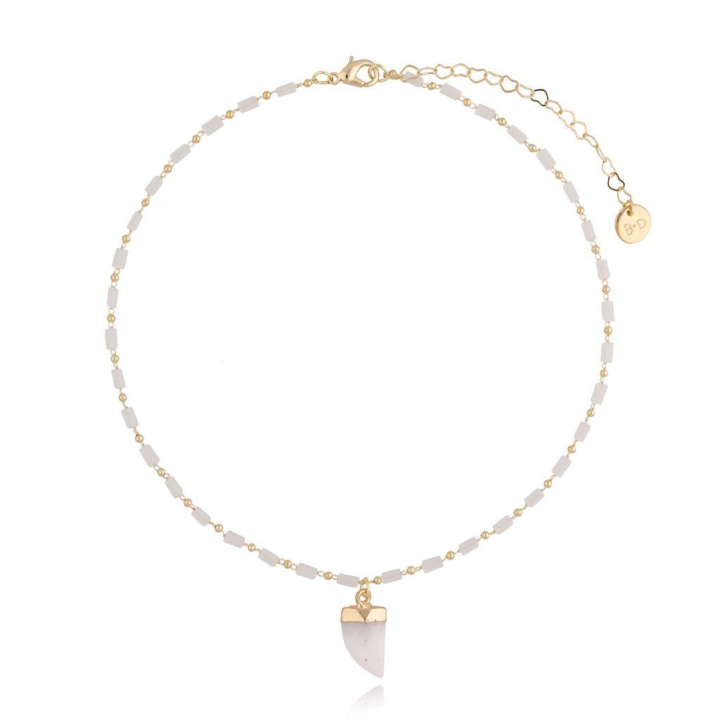 Naszyjnik biały z jadeitem na łańcuszku NPA0069