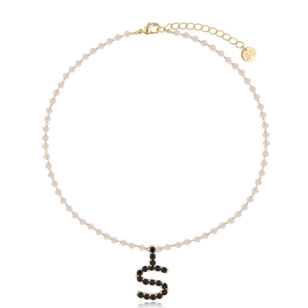 Naszyjnik kryształowy łańcuszek z literą S NRG0224