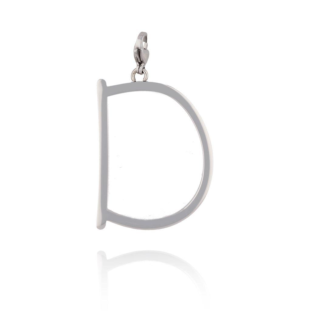 Zawieszka ze stali szlachetnej srebrna literka D Alphabet NAT0035