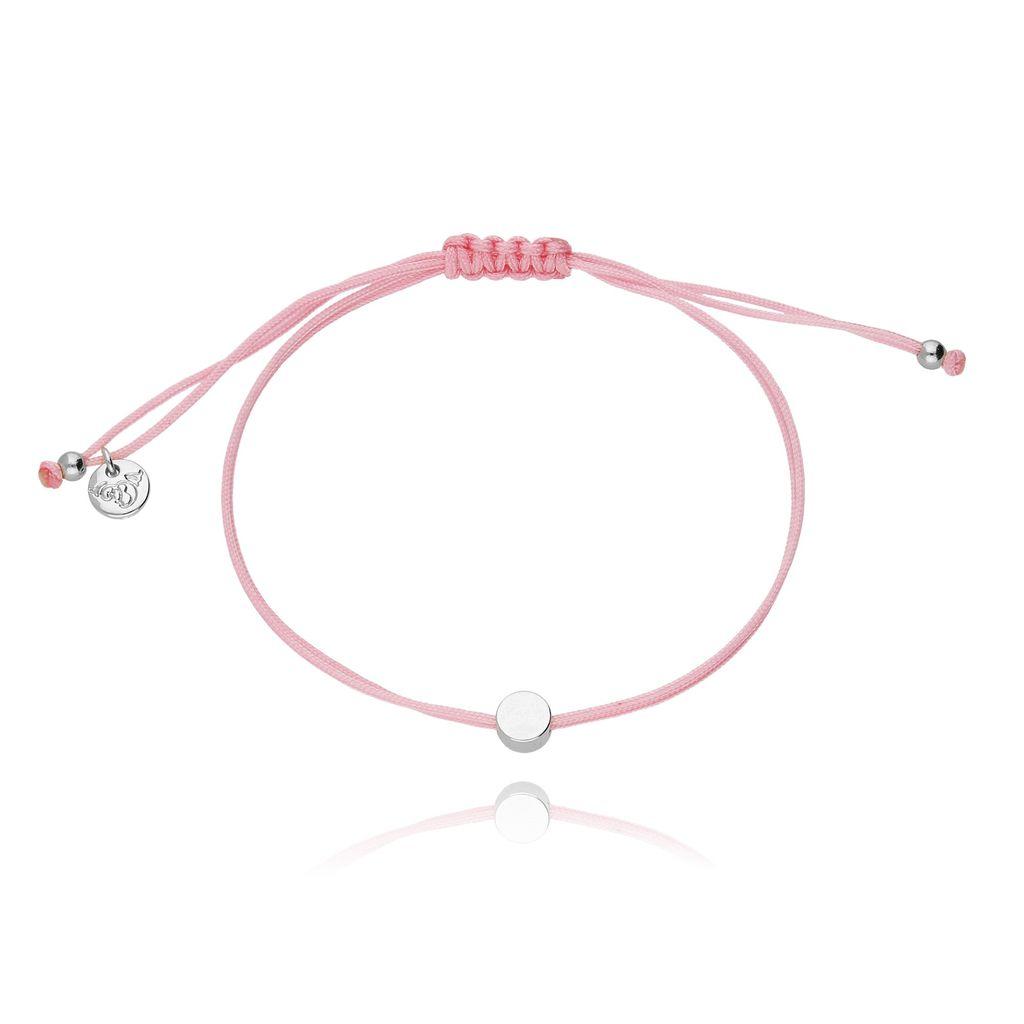 Bransoletka na sznurku różowa - kółko BGL0127
