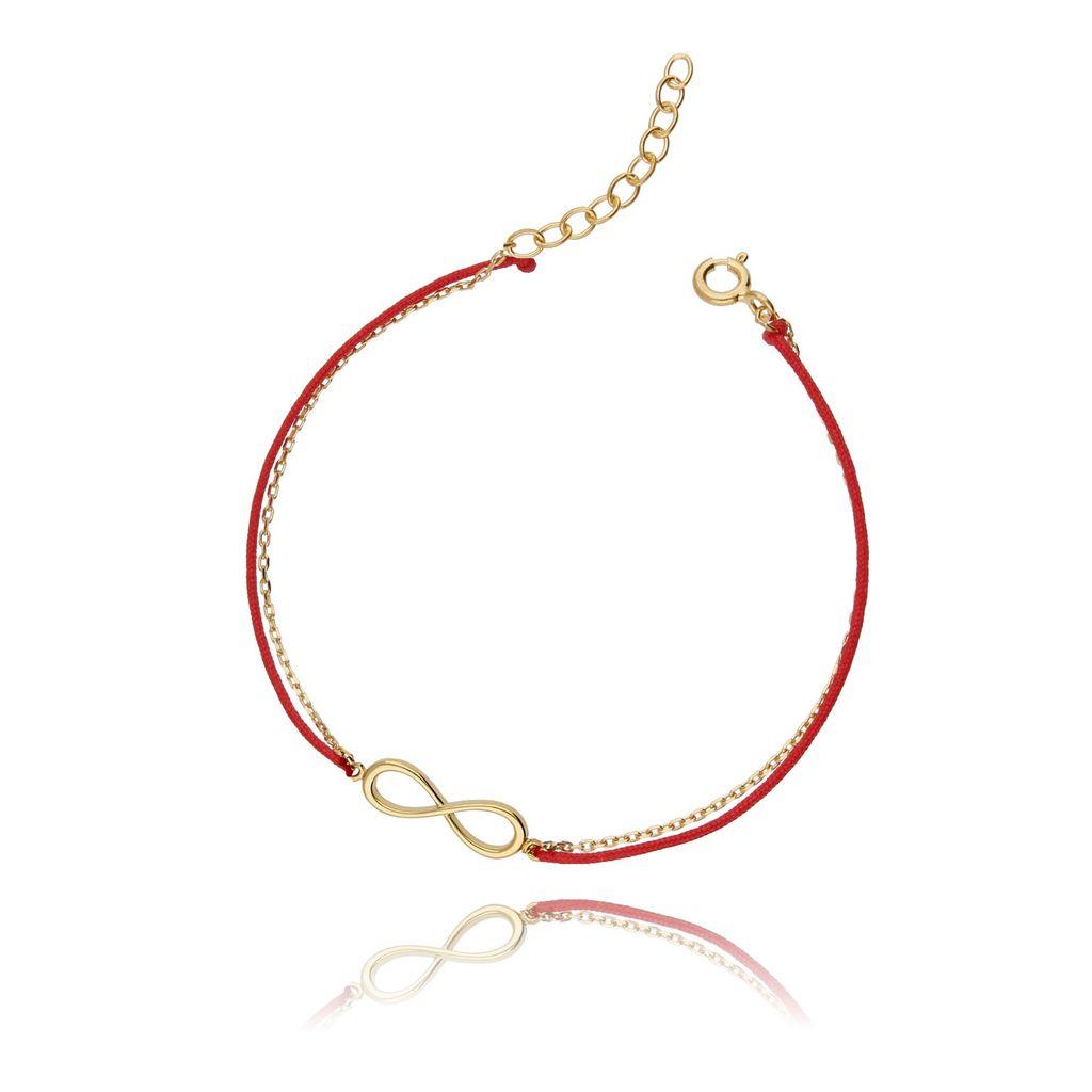 Bransoletka srebrna pozłacana na czerwonym sznurku - nieskończoność BSE0043