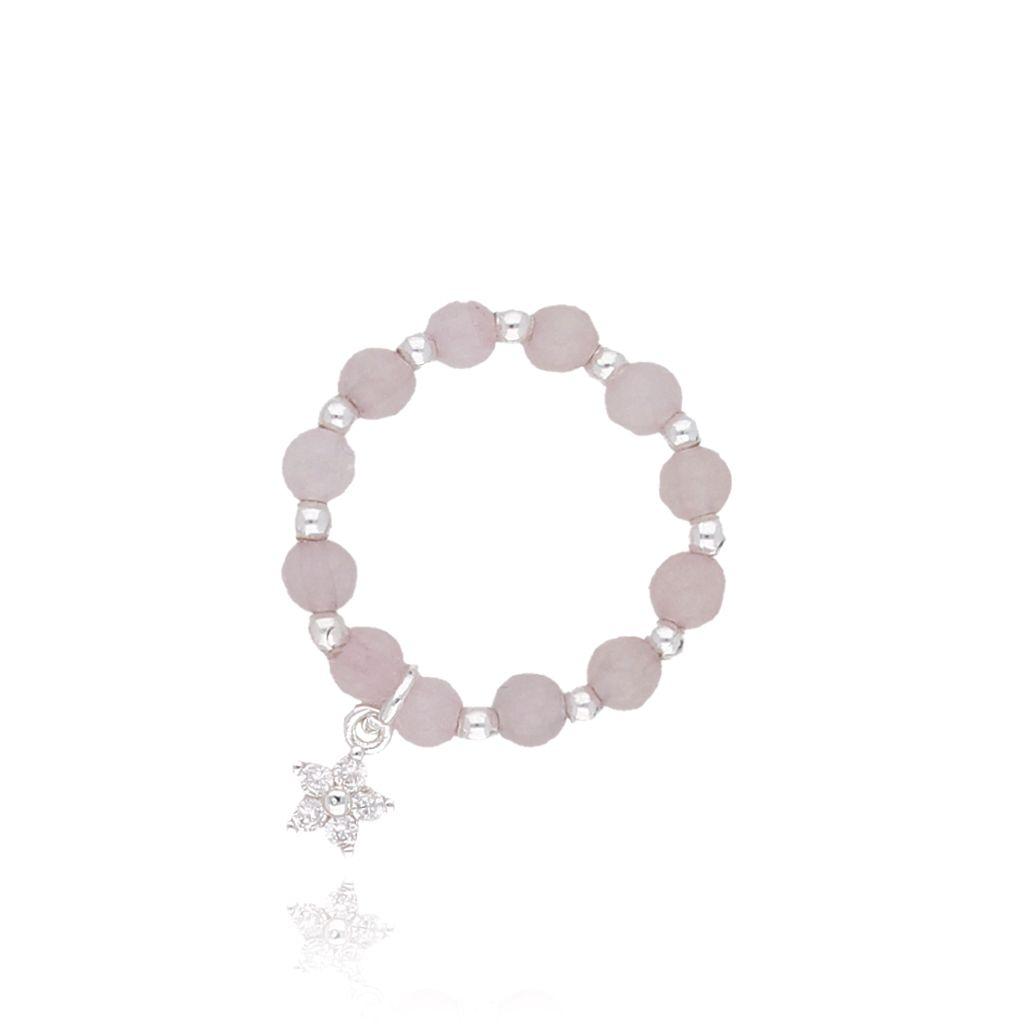 Pierścionek elastyczny z jasno różowymi jadeitami PTW0087