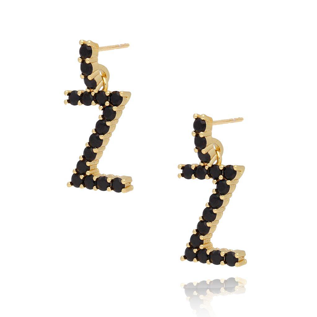 Kolczyki złote z kryształkami literka Z KRG0602