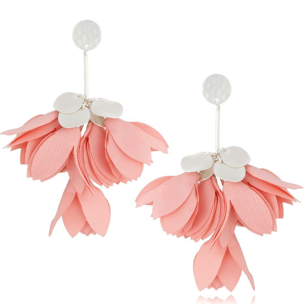Kolczyki satynowe kwiaty jasno różowe KBL0511