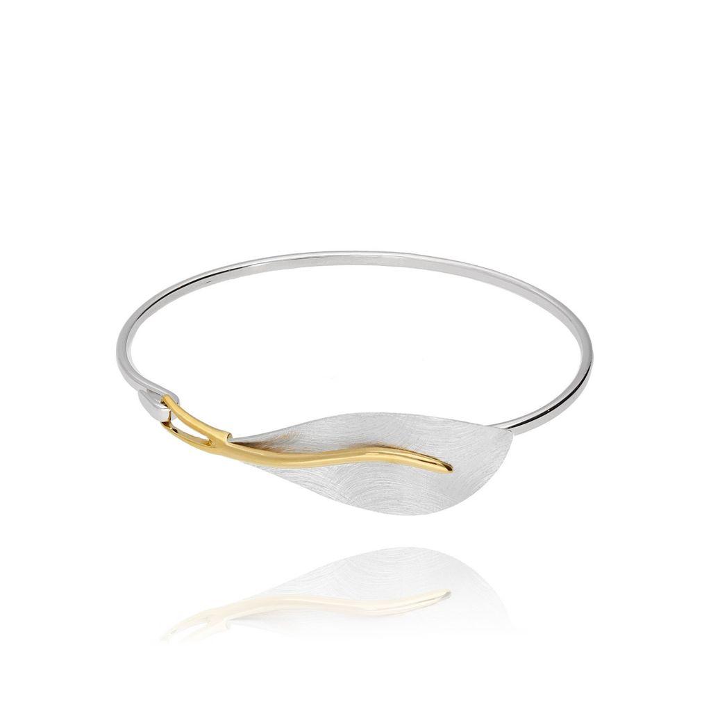 Bransoletka srebrna obręcz z liściem BLE0008_N