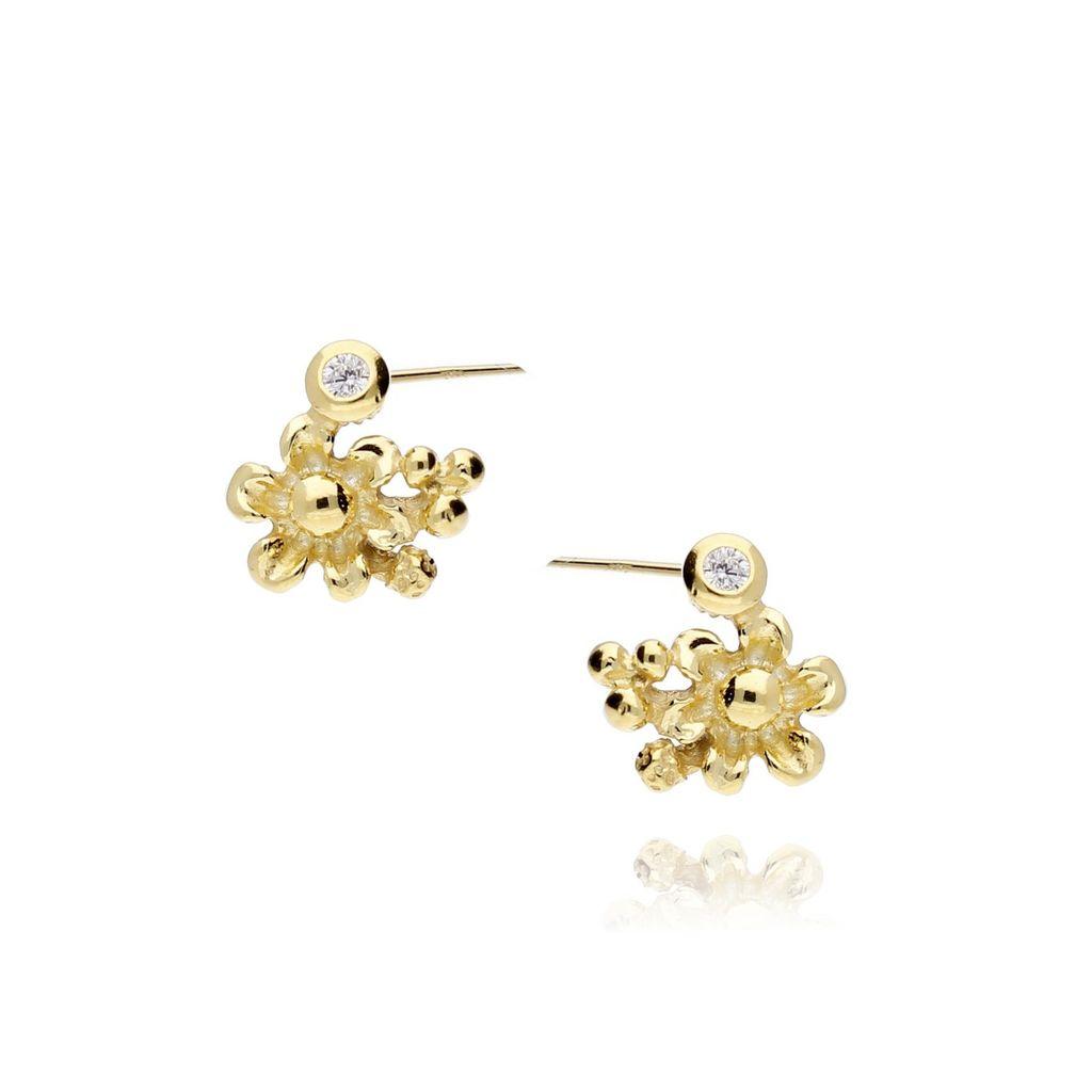 Kolczyki srebrne pozłacane kwiatuszki z cyrkoniami KCI0001