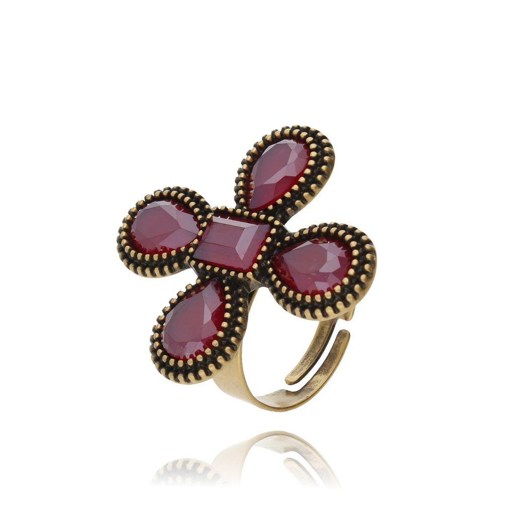 Pierścionek kryształowy kwiat-bordowy PU0005
