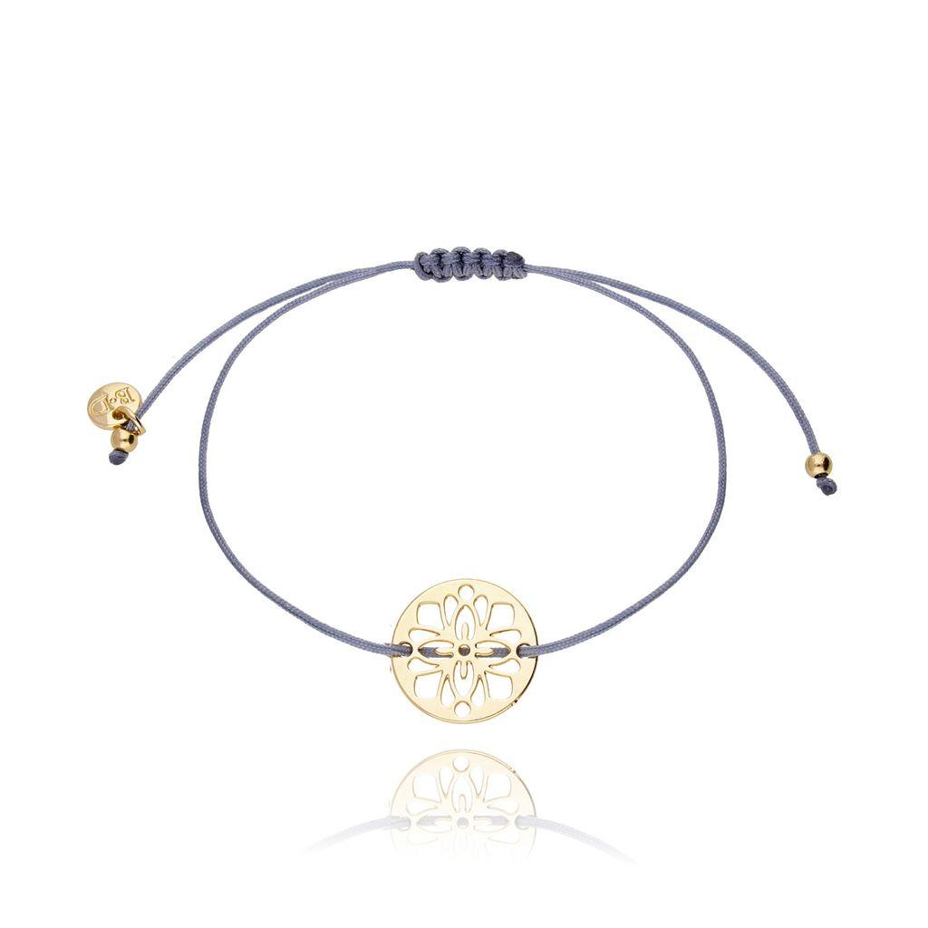 Bransoletka na sznurku szaro niebieska - rozetka BGL0268