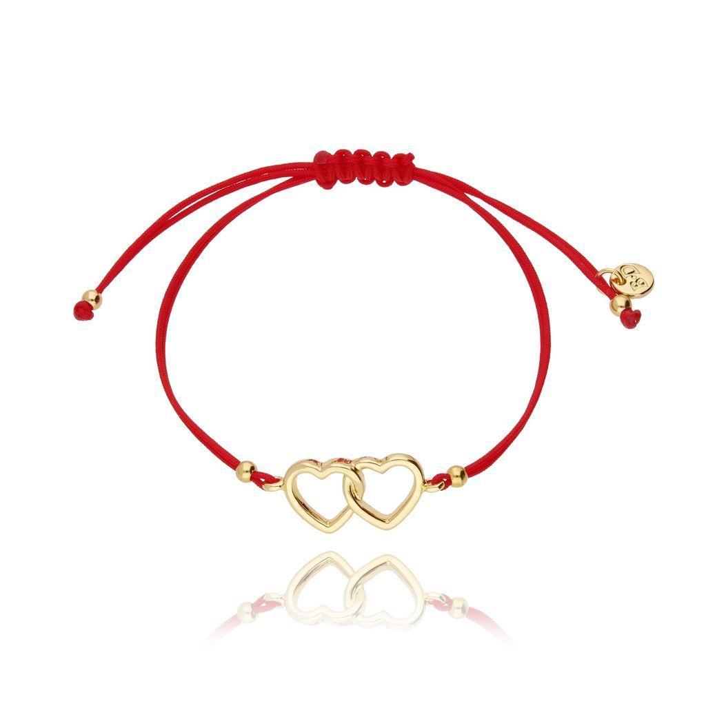 Bransoletka na sznurku czerwona - złote serca BGL0425