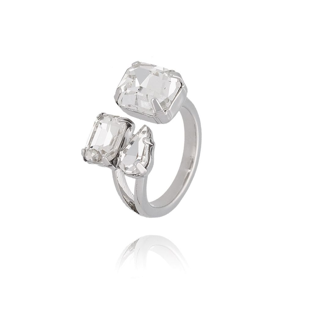 Pierścionek srebrny z transparentnymi kryształami PRG0187 rozmiar 17