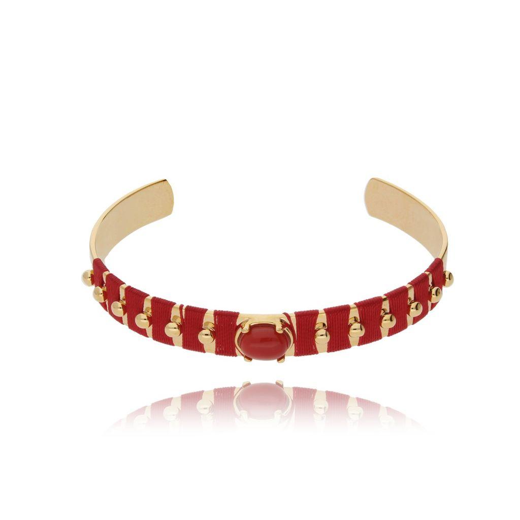Bransoletka złota obręcz z koralikiem i czerwoną nicią BNE0002