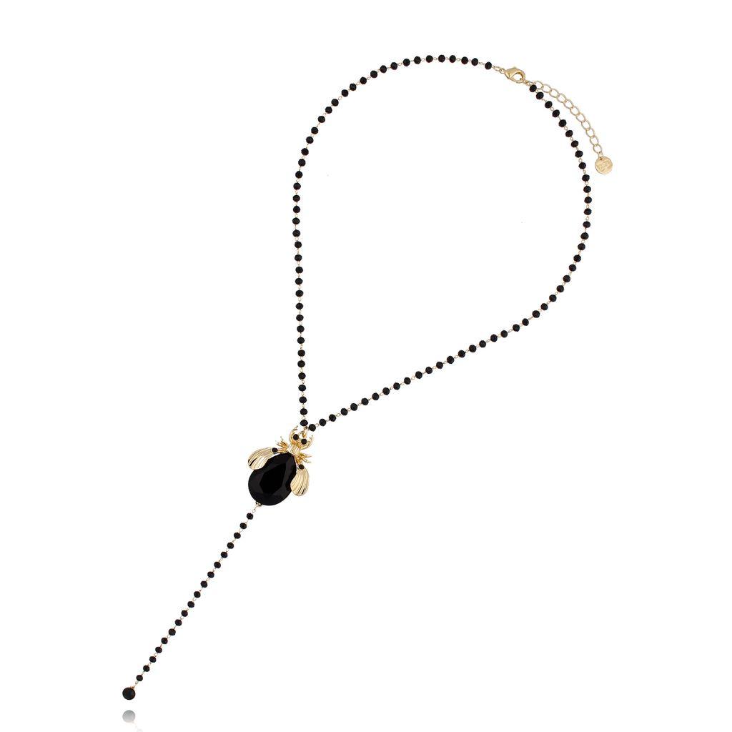 Naszyjnik czarny żuk z czarnym łańcuszkiem NMI0050