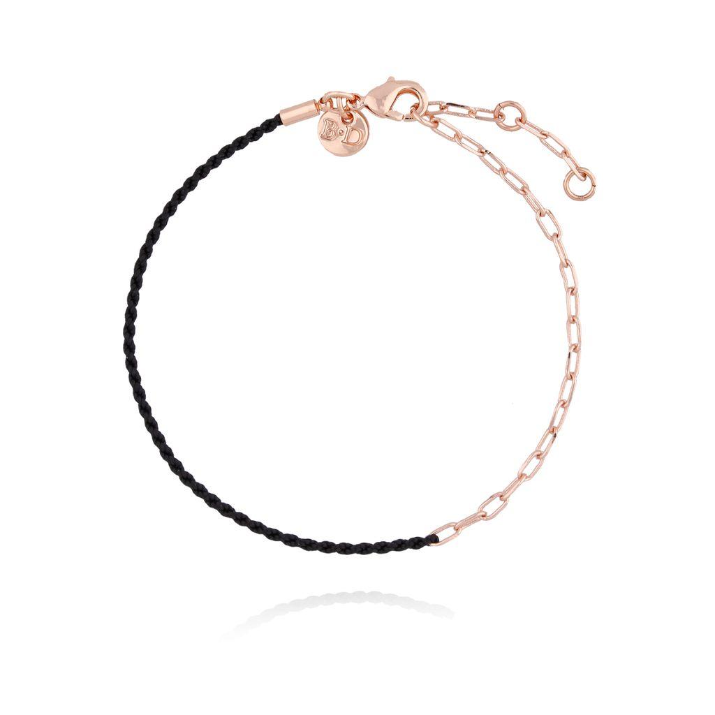 Bransoletka z czarnym sznurkiem i łańcuszkiem z różowego złota BLB0072