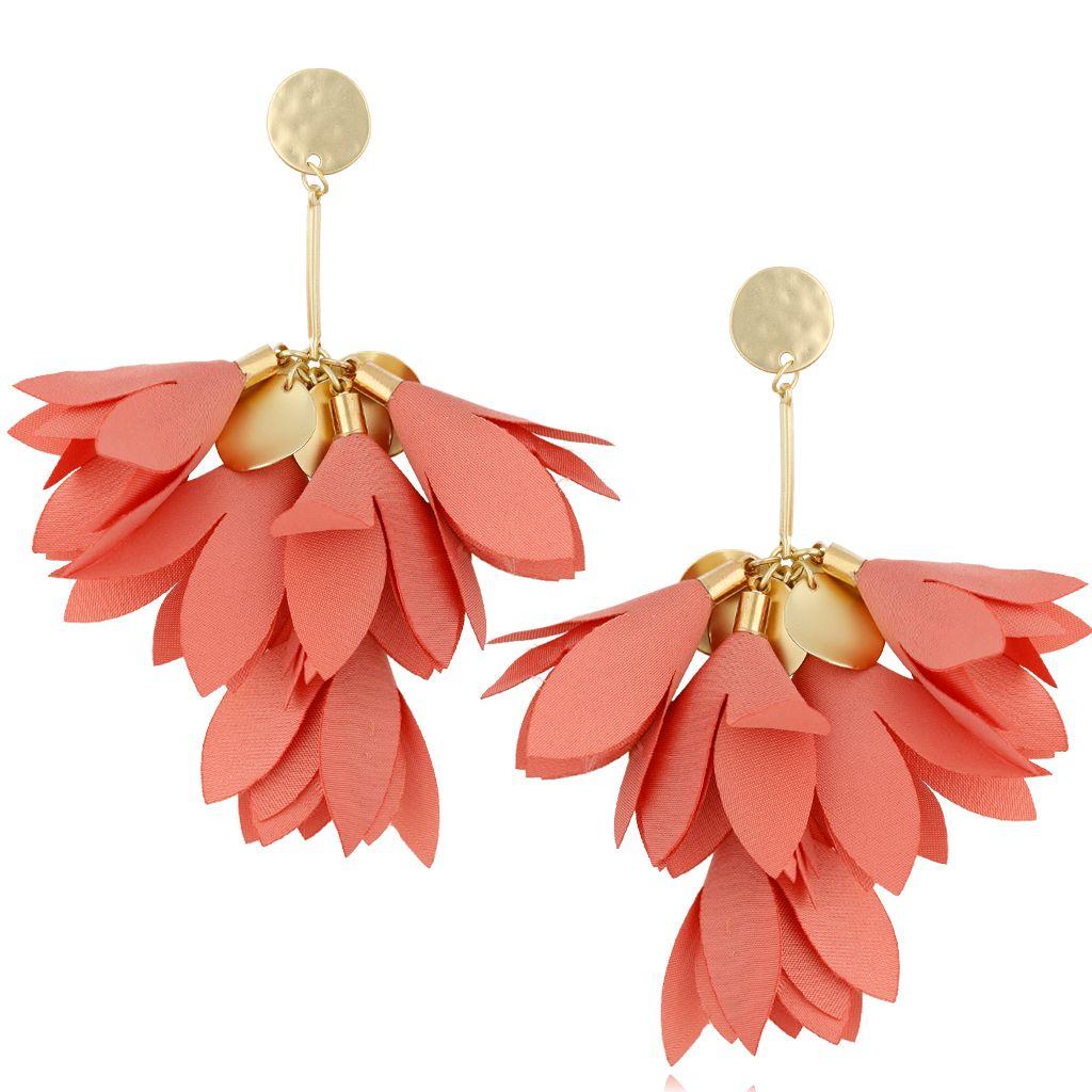 Kolczyki satynowe kwiaty morelowe KBL0512