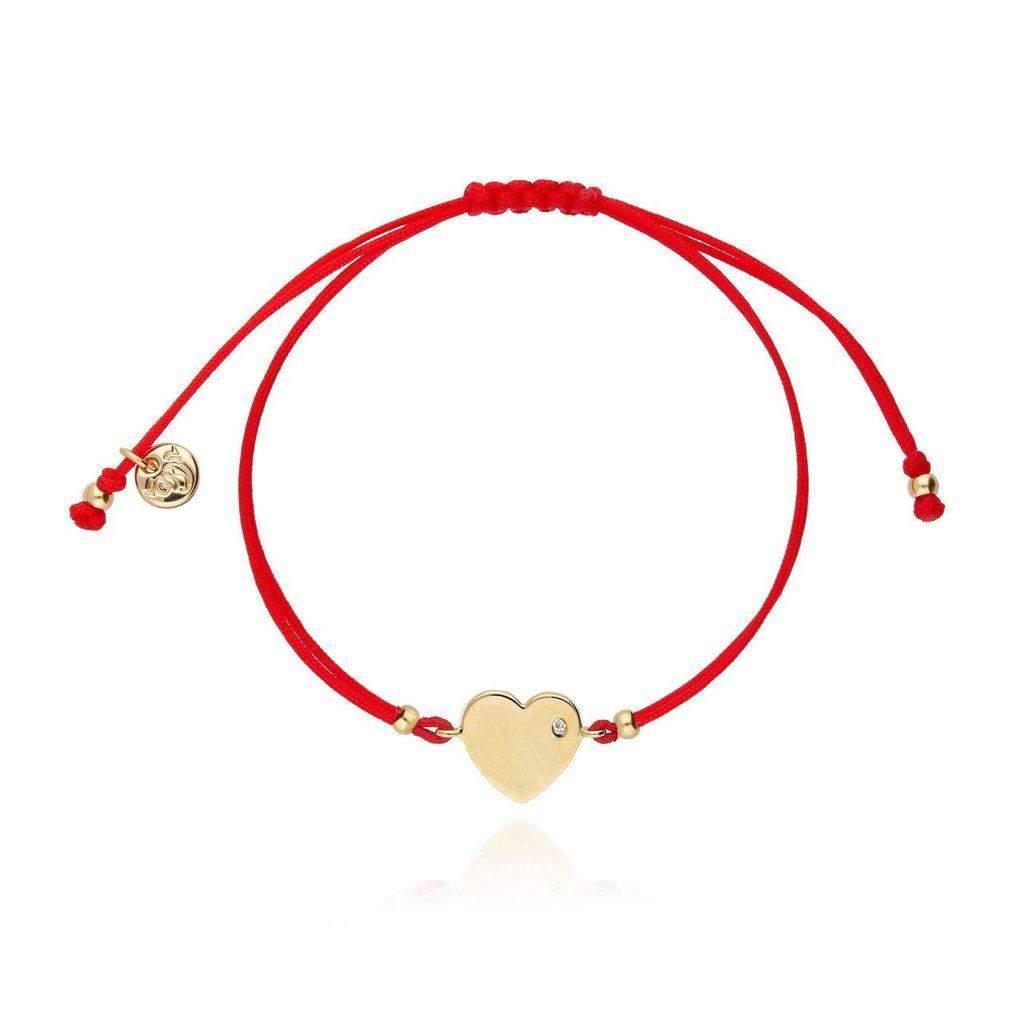 Bransoletka na sznurku czerwona - złote serce BGL0449