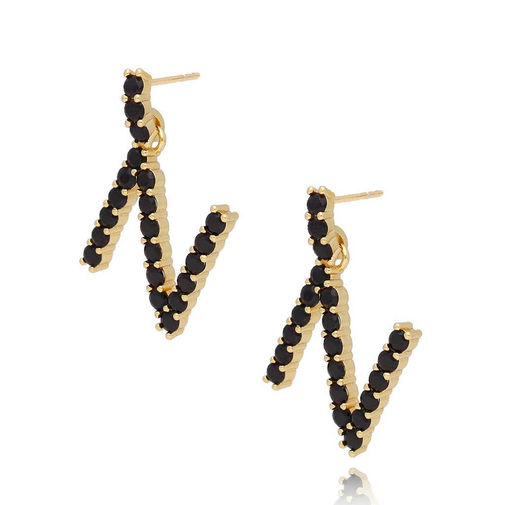 Kolczyki złote z kryształkami literka N KRG0600