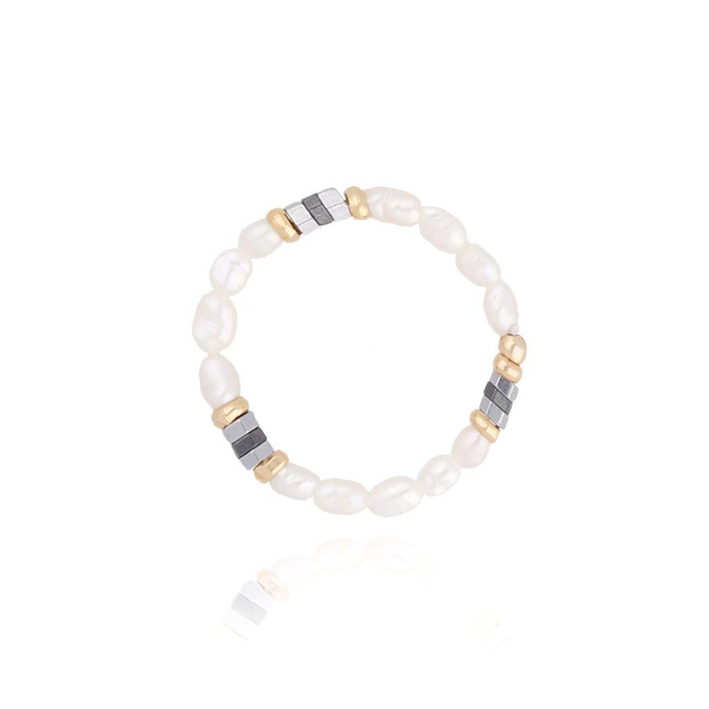 Pierścionek elastyczny z hematytami i perłami PTW0058