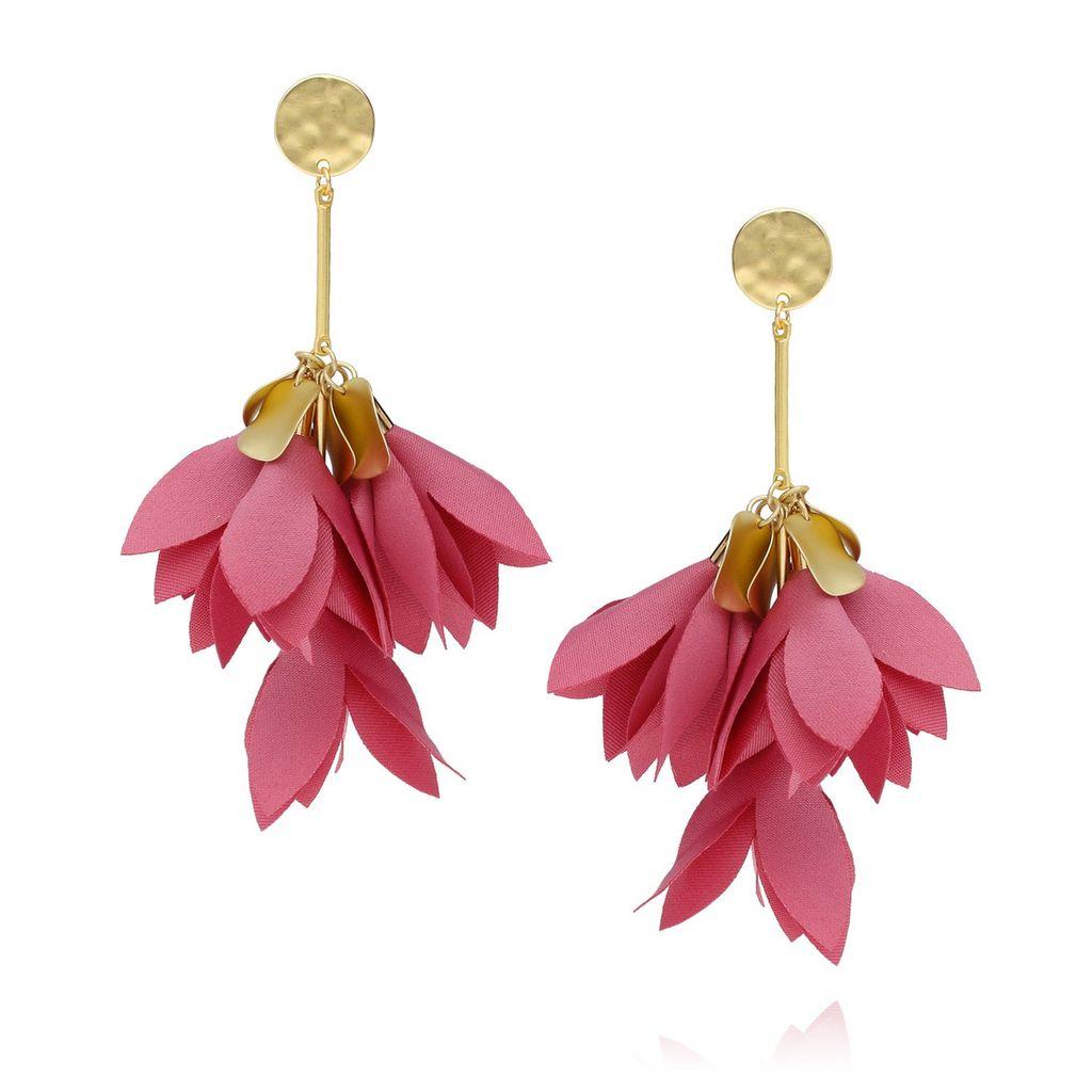 Kolczyki satynowe kwiaty - różowe KBL0157