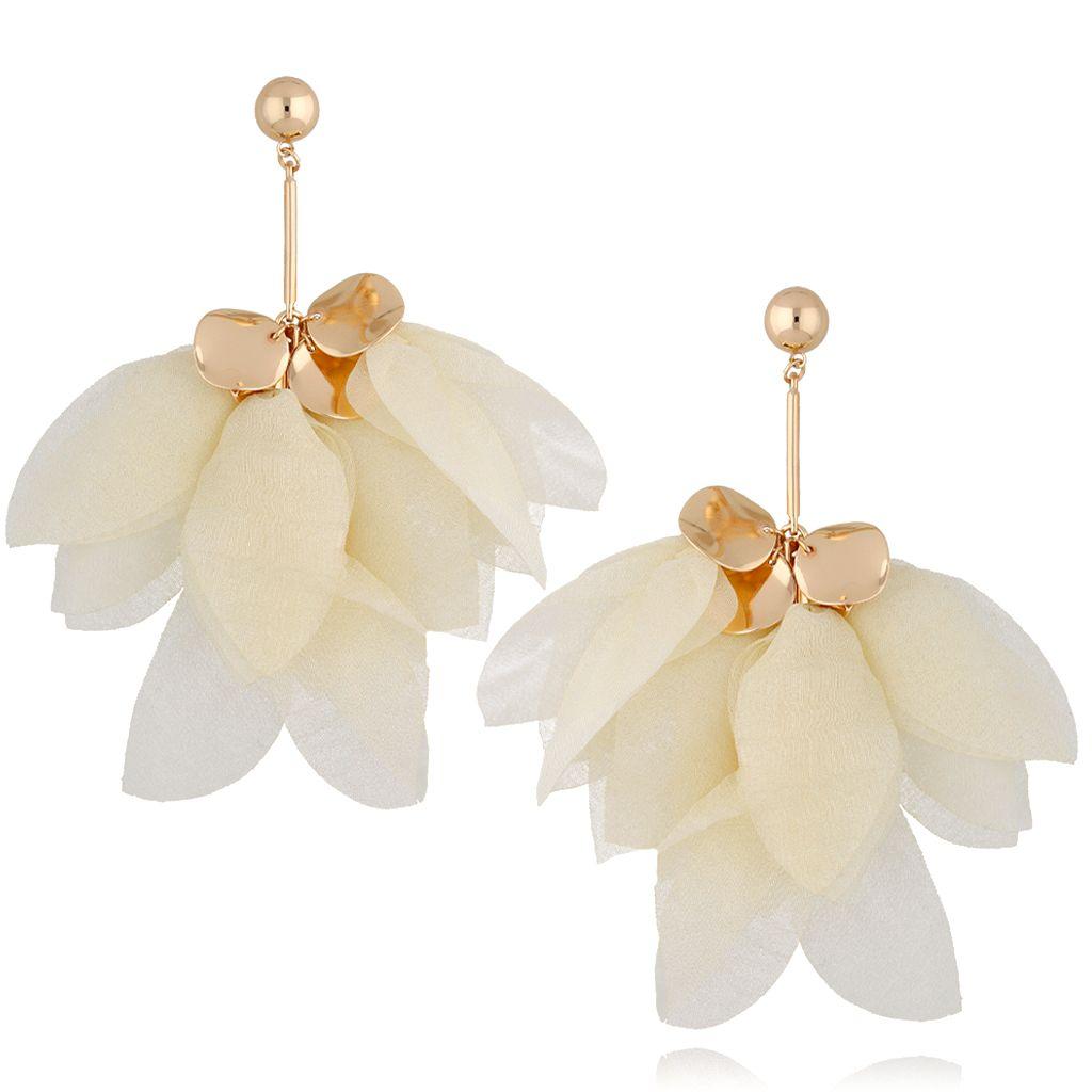 Kolczyki jedwabne kwiaty kremowe KBL0542