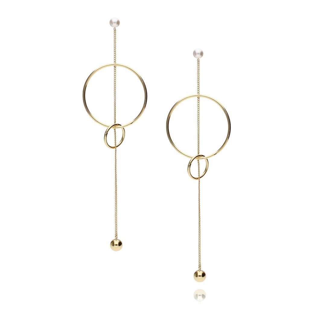 Kolczyki długie złote z łańcuszkiem i kółkami KRG0504