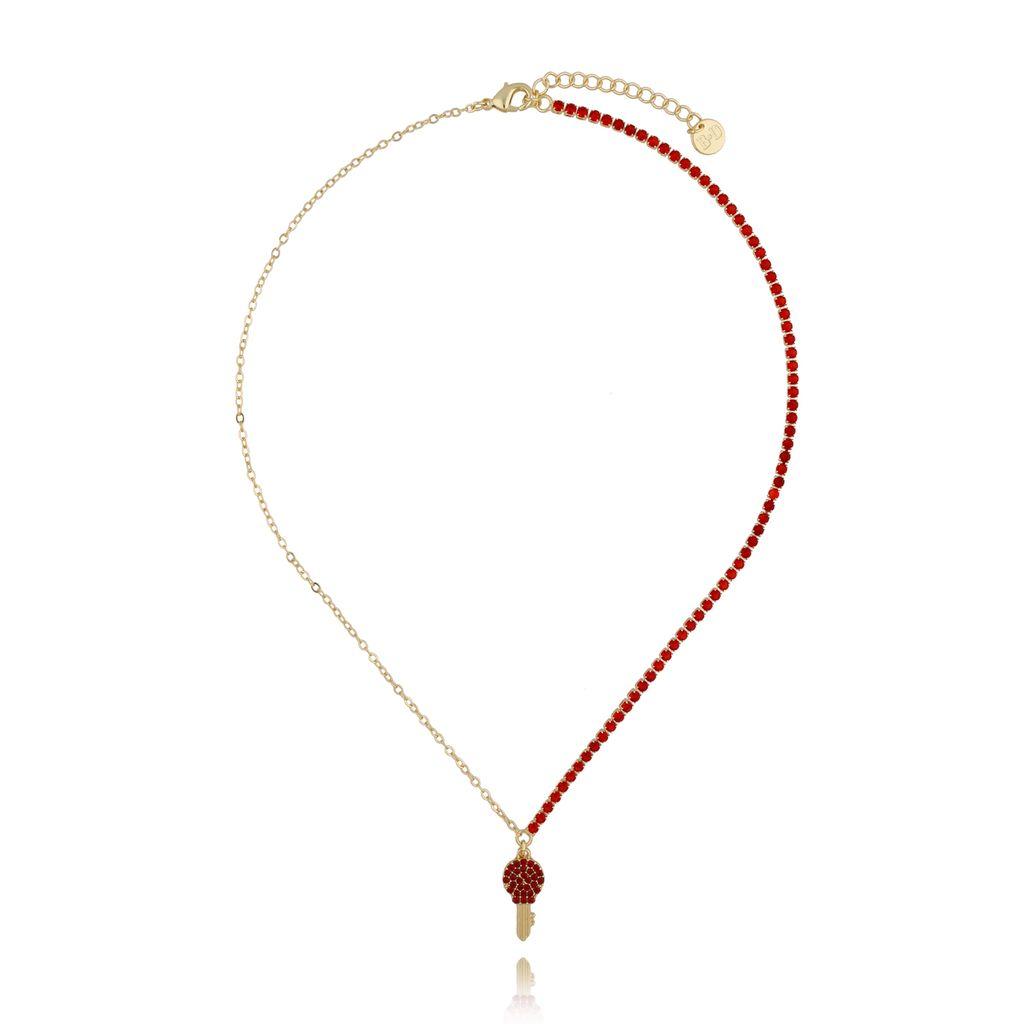 Naszyjnik z czerwonymi cyrkoniami i kluczykiem NMU0022