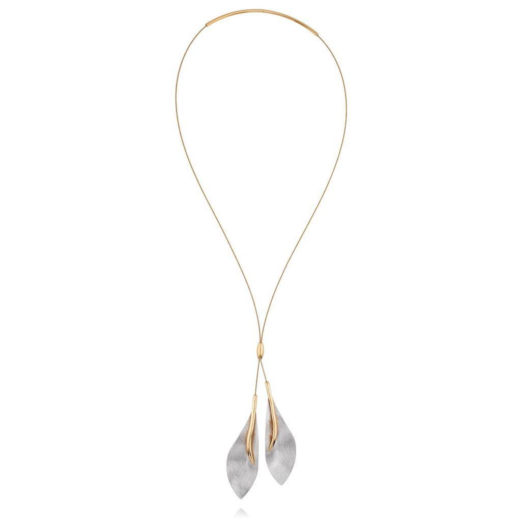 Naszyjnik srebrny liście pozłacany NLE0015