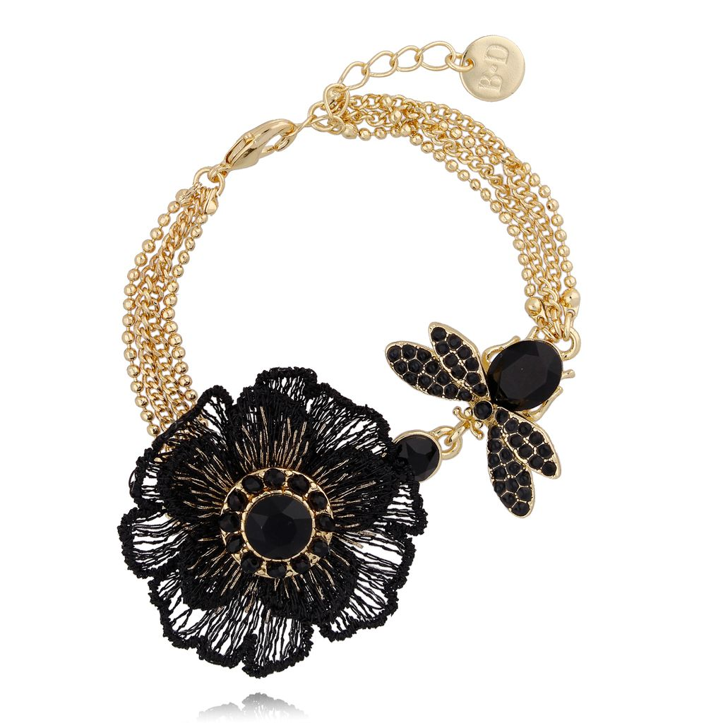 Bransoletka złota z kwiatem i owadem BMI0039