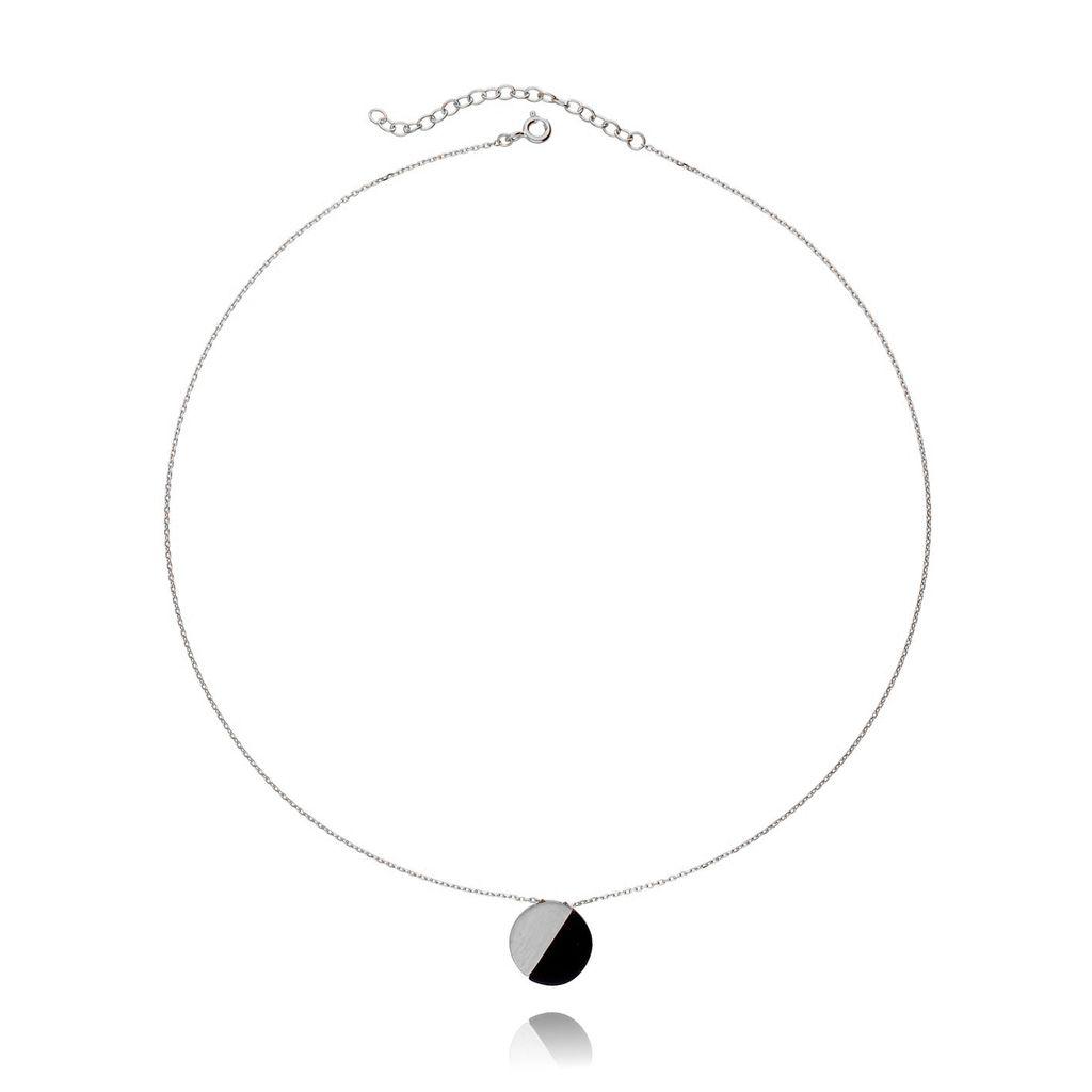 Naszyjnik srebrny z czarnym kamieniem NSE0055