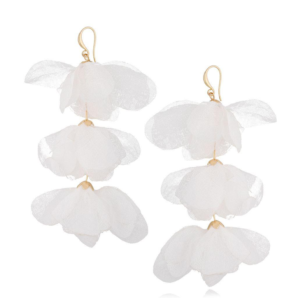 Kolczyki jedwabne kwiaty potrójne białe KBL0606