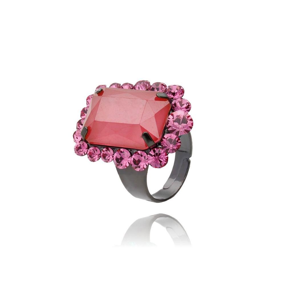 Pierścionek z kryształkiem różowo-czerwony PSS0018