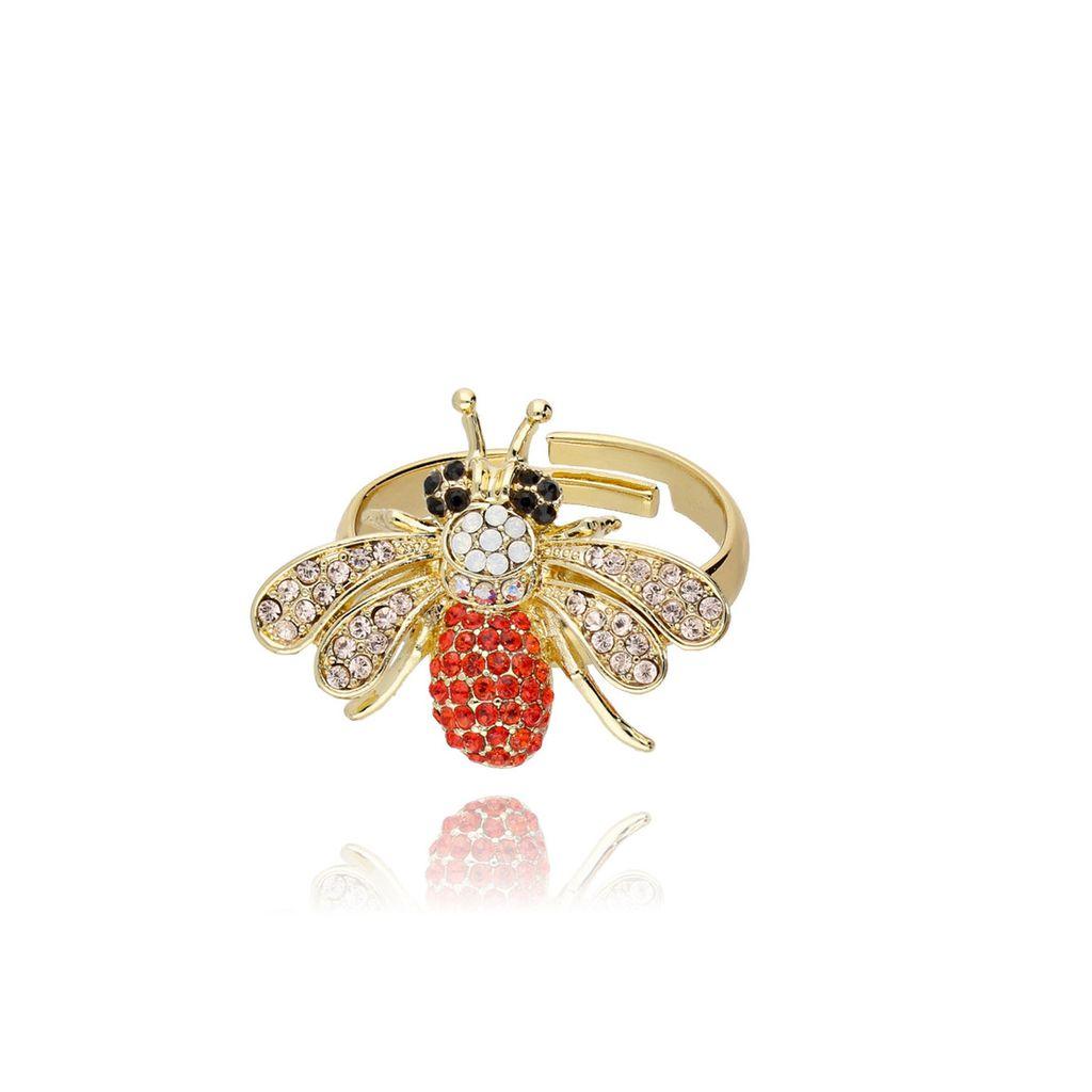 Pierścionek złoty - mucha z cyrkoniami PMI0042