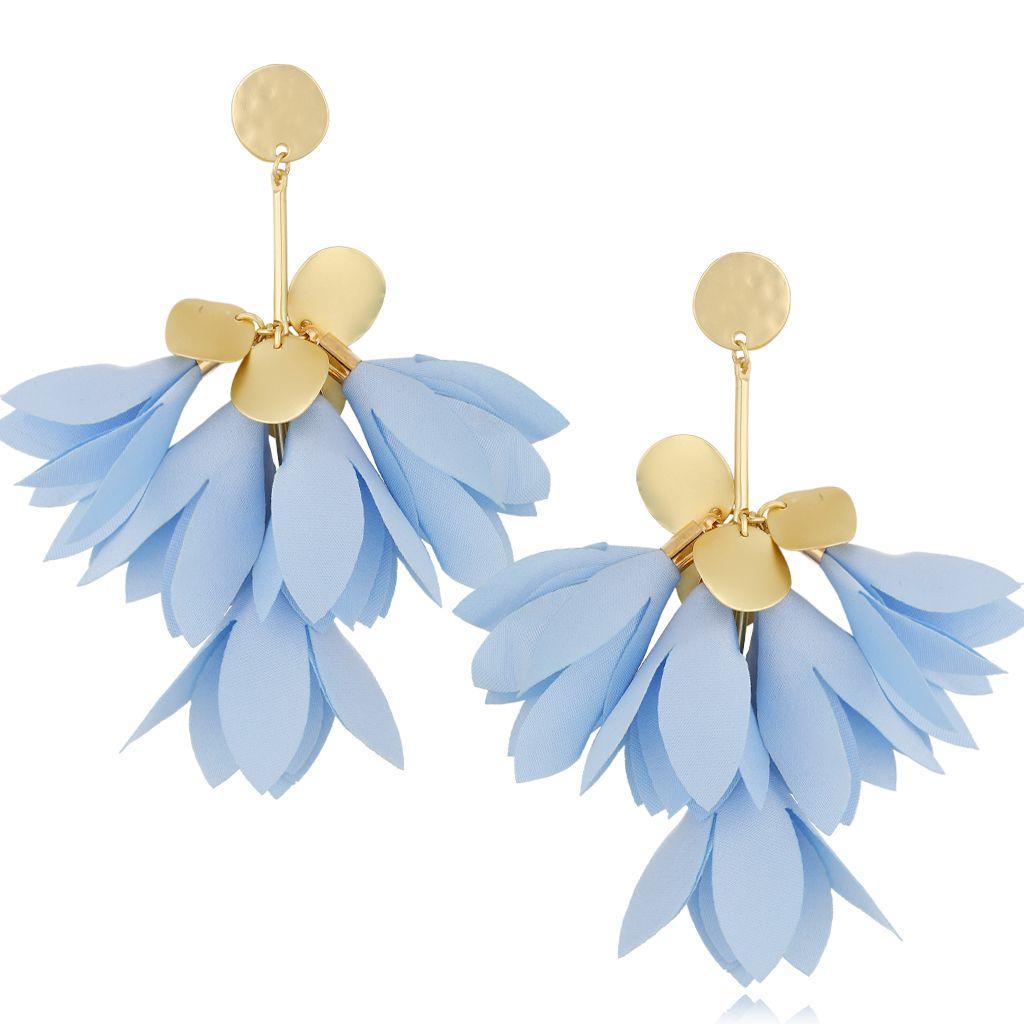 Kolczyki satynowe kwiaty błękitne KBL0526