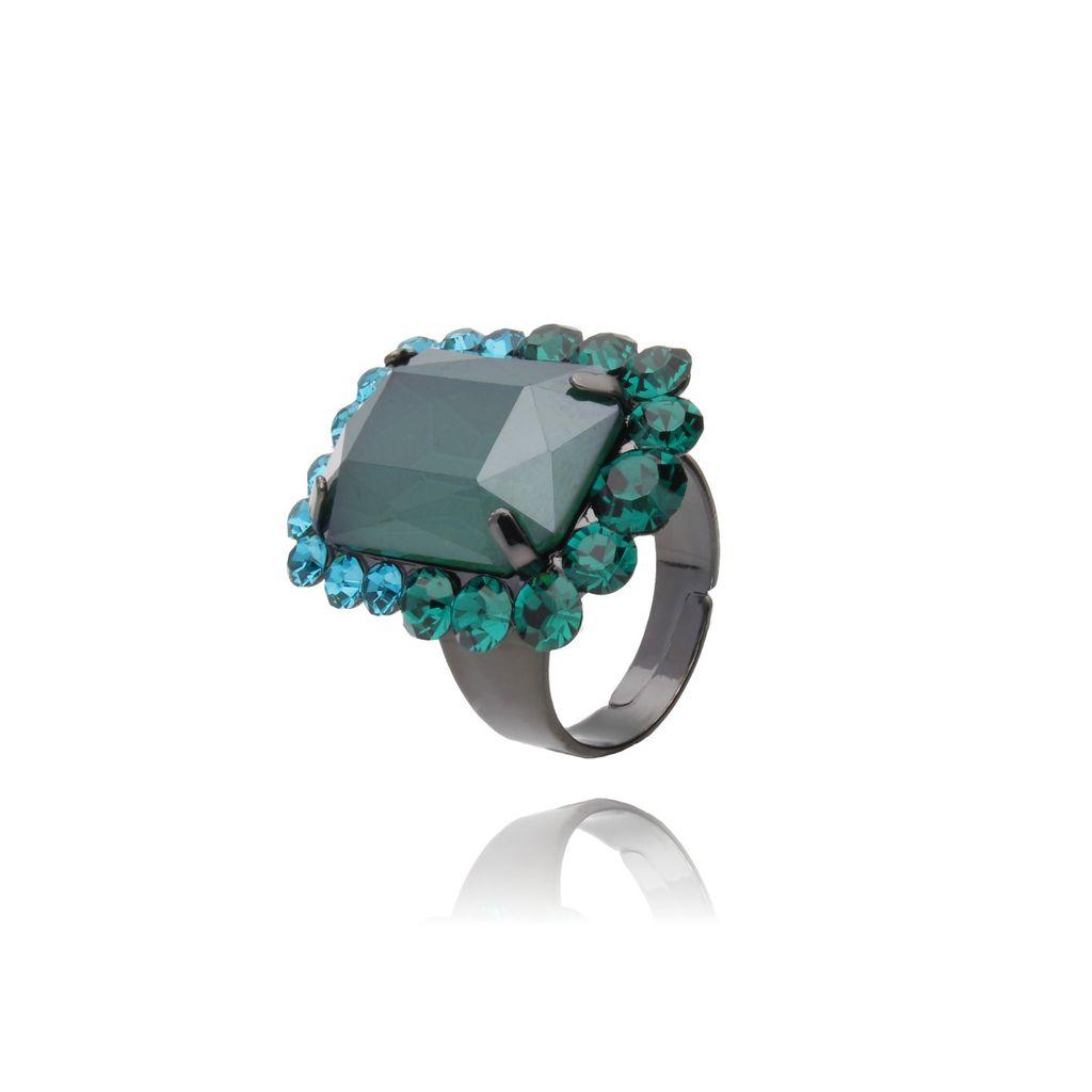 Pierścionek z kryształkiem zielony PSS0021