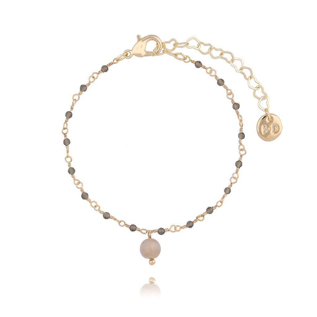 Bransoletka z kryształkami i jadeitem jasno brązowa BOA0014