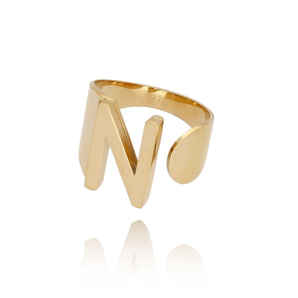 Pierścionek złoty ze stali szlachetnej z literką N PSA0071