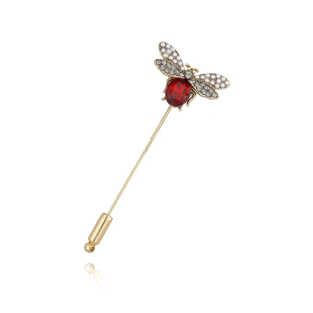Broszka szpilka czerwony owad BRMI0108