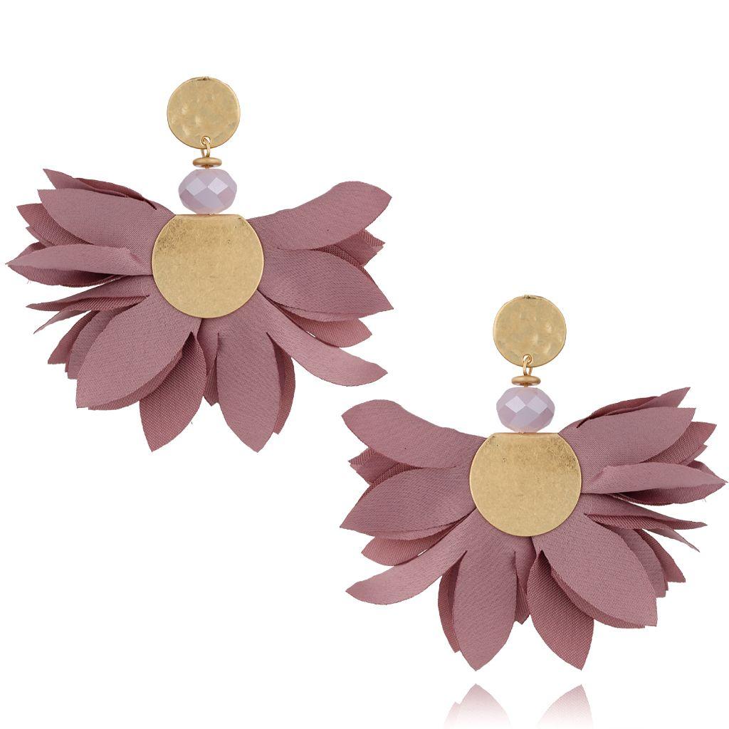 Kolczyki satynowe kwiaty malaga KBL0536